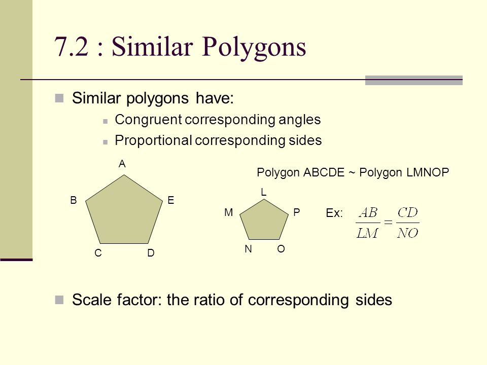 7.2 : Similar Polygons Similar polygons have: