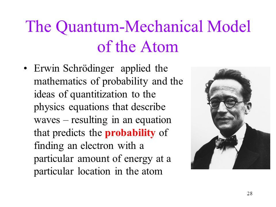 the quantum mechanical model of the October 24, 2014 a quick history of the quantum mechanical model • erwin shrodinger: refined the wave-particle theory proposed by de broglie  developed an equation that treated an electron like.