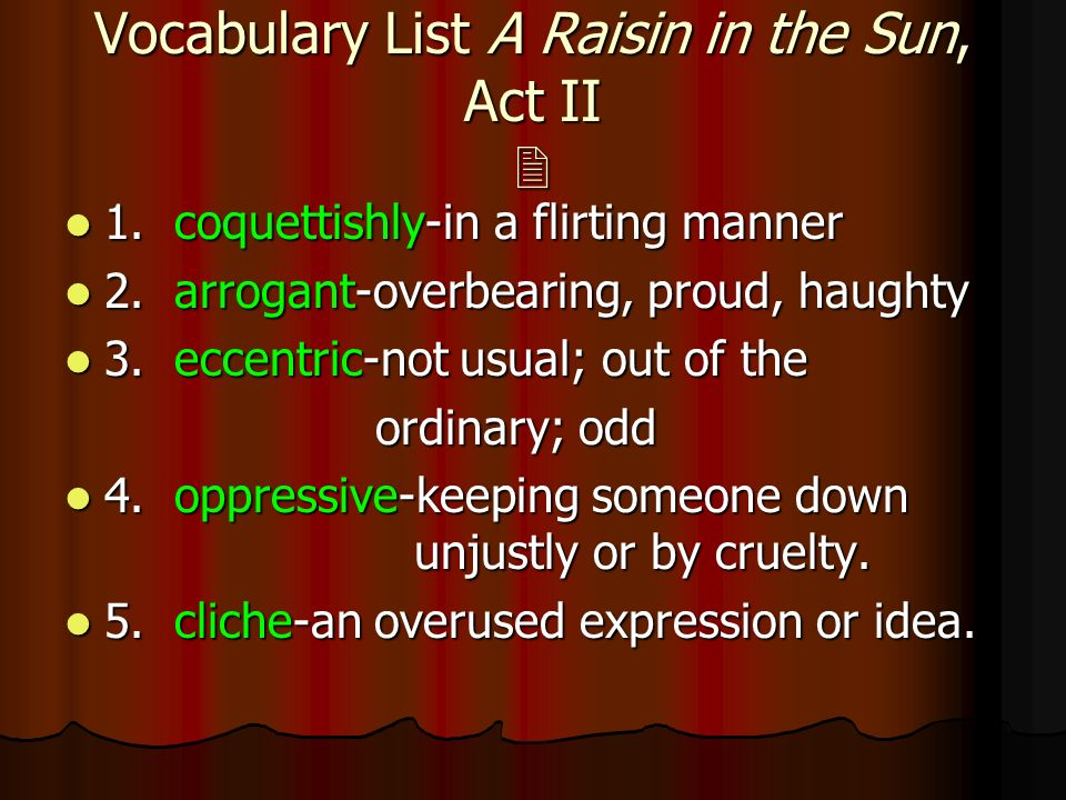 a raisin in the sun act Watch a raisin in the sun full movie online stream a raisin in the sun the 1961 movie videos, trailers, reviews & more.