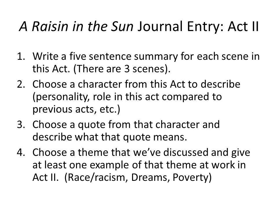thesis statement for a raisin in the sun