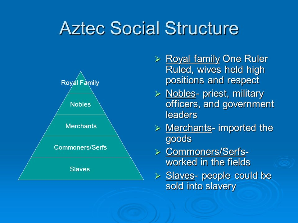 social structures of the aztecs Motivations, expectations, political and social structures, religious beliefs, concepts of civilization, and perceptions of wealth and power all played a role perhaps nowhere is the complex mingling of such forces more evident than in hernan cortés's encounter with the mexica (aztecs.