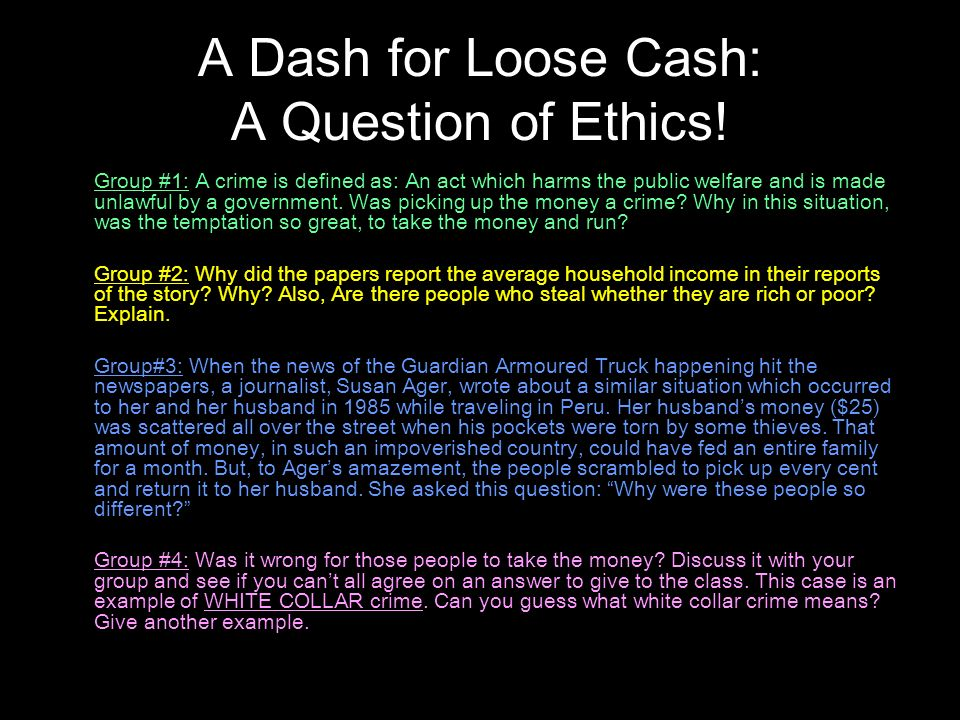 a question of ethics Questions when ethics appears in an optional question, it seems to be a popular choice for candidates in the exam a question of ethics november 2012.