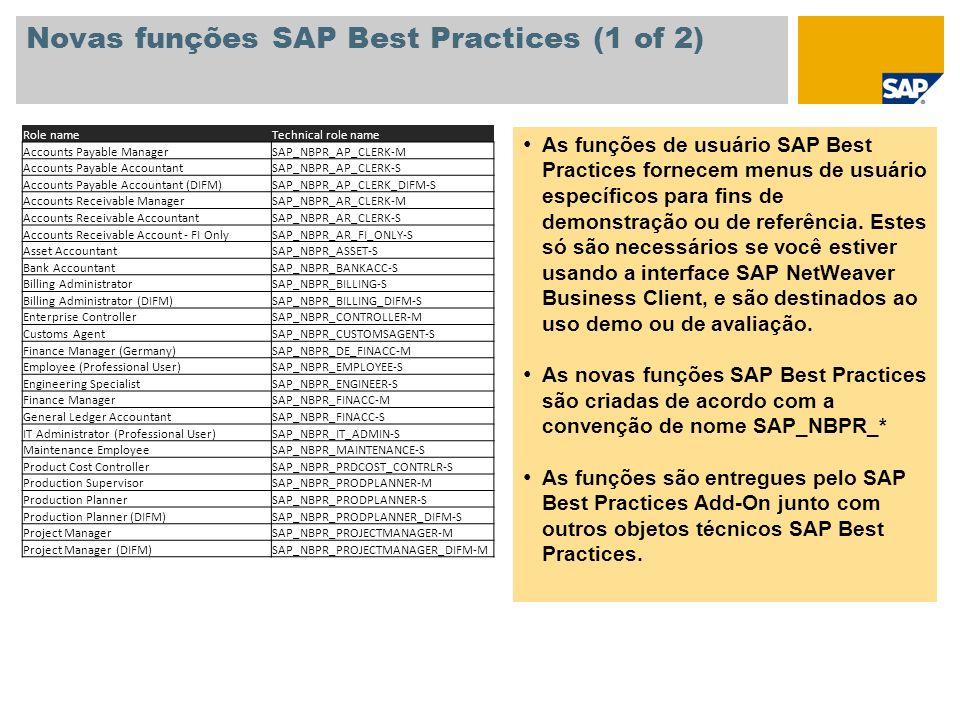 Novas funções SAP Best Practices (1 of 2)