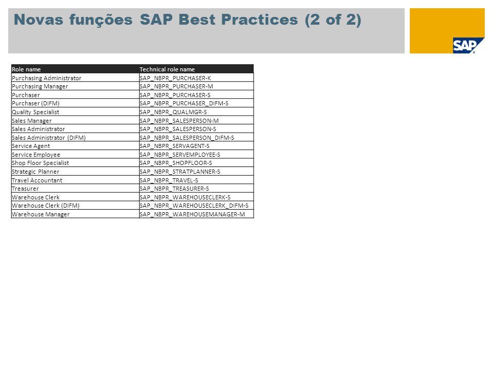 Novas funções SAP Best Practices (2 of 2)