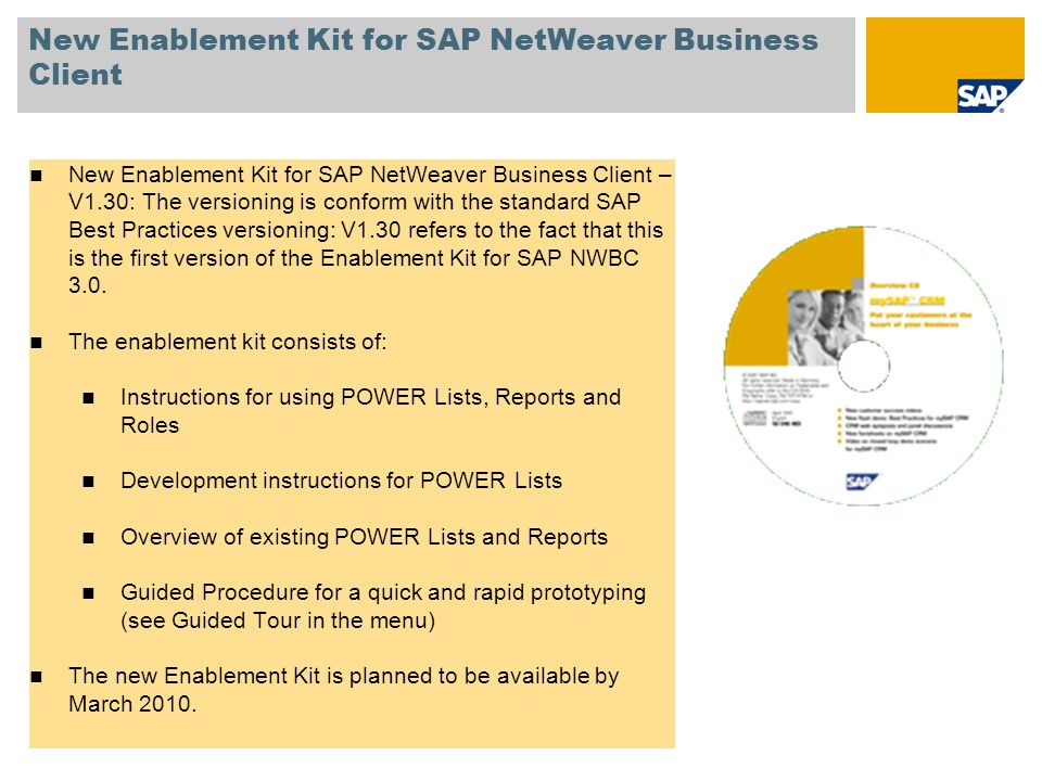 New Enablement Kit for SAP NetWeaver Business Client