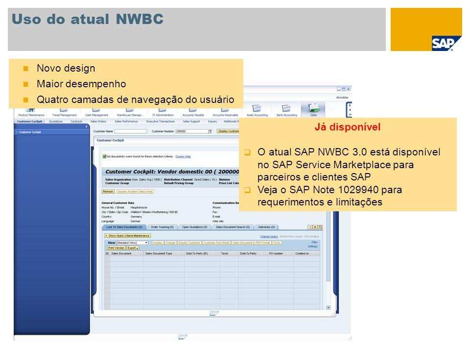 Uso do atual NWBC Novo design Maior desempenho