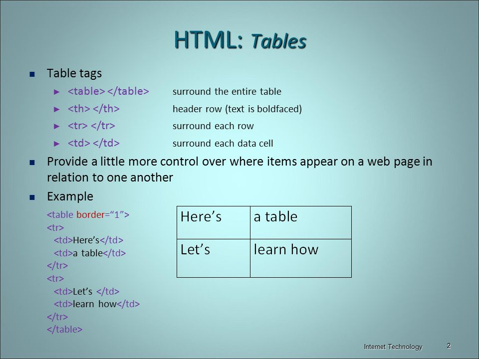 Html tables frames internet technology ppt video for Html table tr td