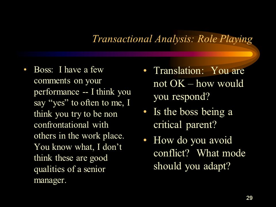 value of transactional analysis to the manager Transactional analysis, created by eric berne, defines three different ego states   of as the moral part of the mind, a manifestation of societal or parental values.