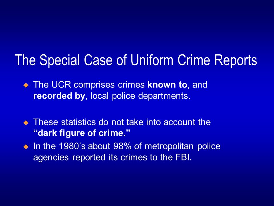 the uniform crime reports part 1 offenses Uniformity in reporting under the maine uniform crime reporting system is based on the proper classification of offenses reported to or known by the police in general, part i crimes are usually reported to law enforcement agencies part i crimes are comprised of the following offenses 1 homicide 1a murder and.
