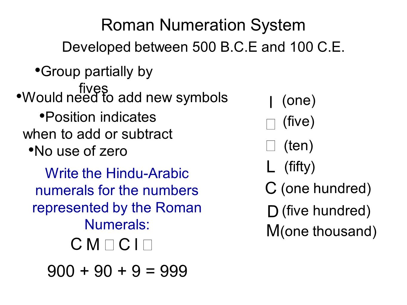 numeral system Ancient numeration systems can be an interesting topic of study for elementary for a more in depth look at roman numerals  its explanation of each system.