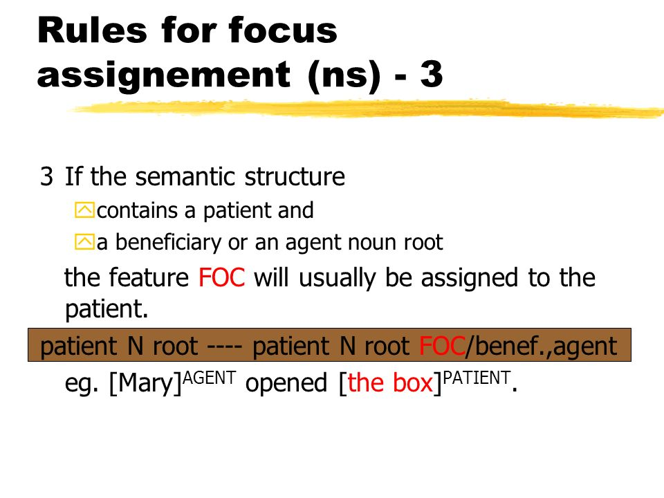 Rules for focus assignement (ns) - 3