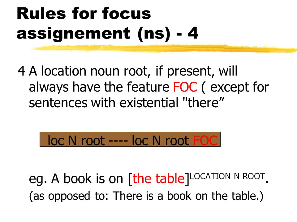 Rules for focus assignement (ns) - 4