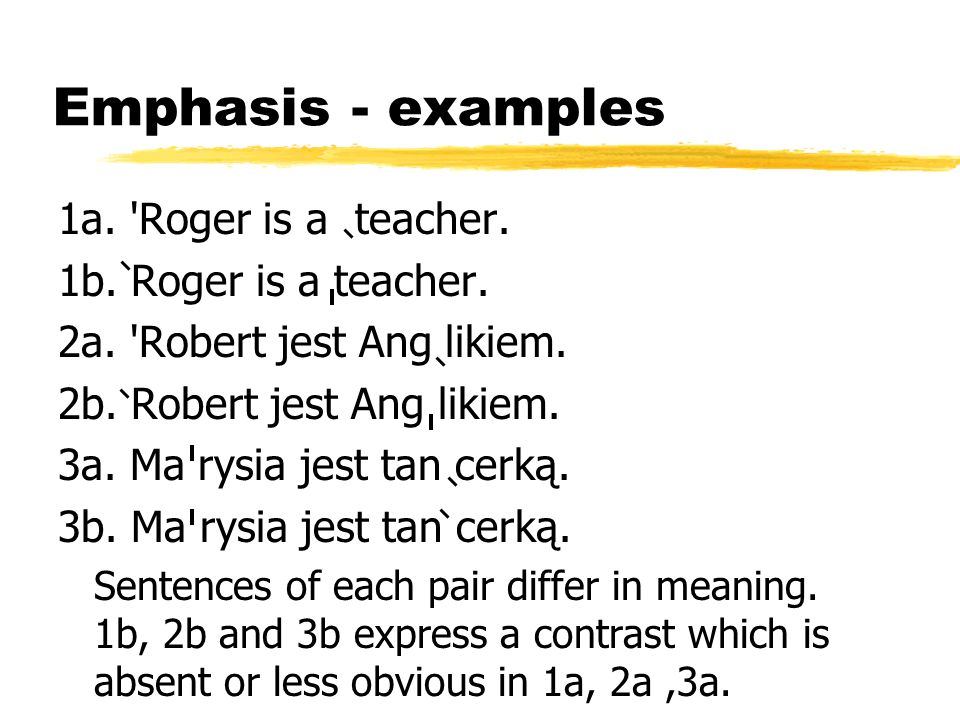 Emphasis - examples 1a. Roger is a teacher. 1b. Roger is a teacher.