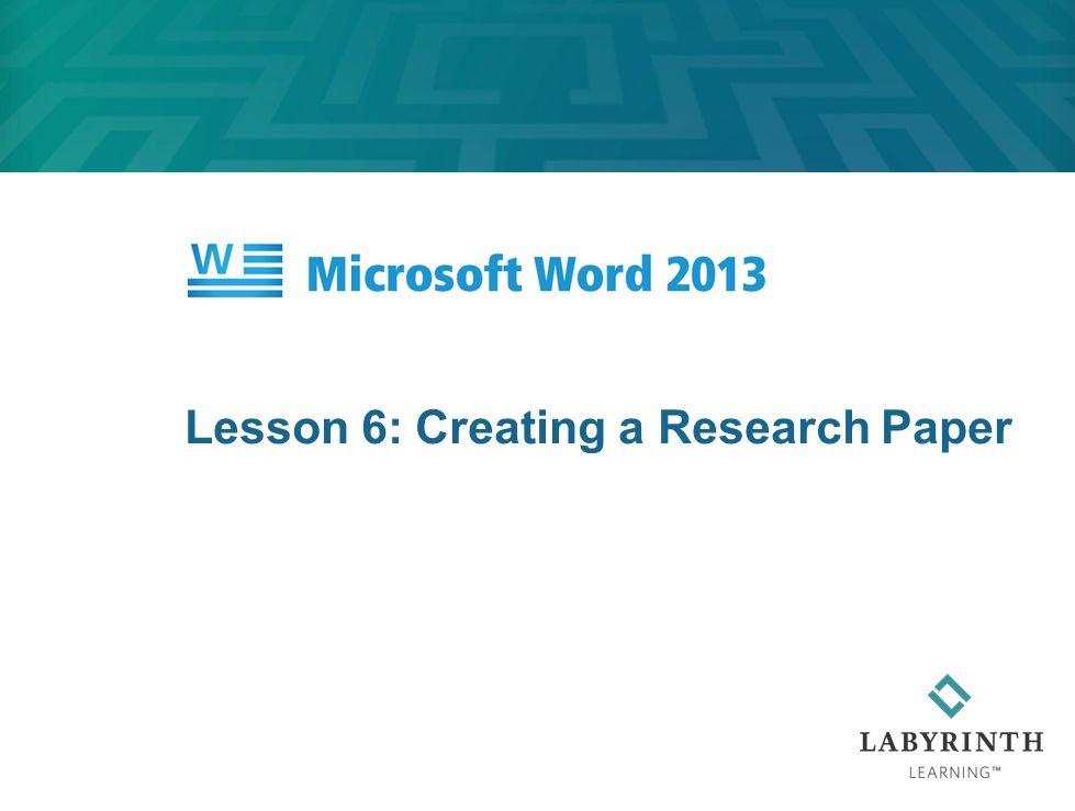 Research paper lesson