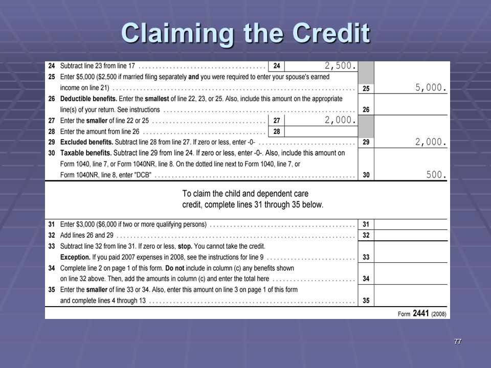 Liberty Tax Service Online Basic Income Tax Course Lesson 7 ppt – Credit Limit Worksheet 2441