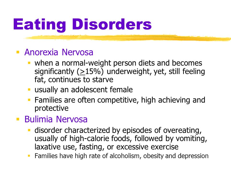 anorexia nervosa and alcoholism a brief Eating disorders, such as anorexia nervosa, bulimia and binge eating, are characterised by an unusual attitude towards food that may cause an individual to.