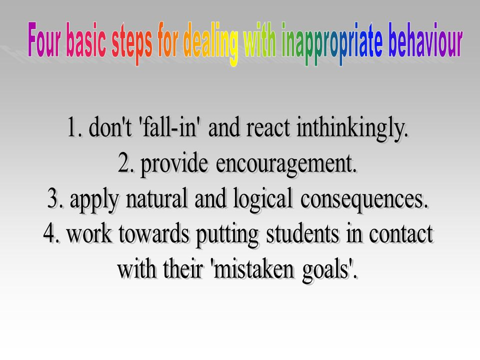 Four basic steps for dealing with inappropriate behaviour