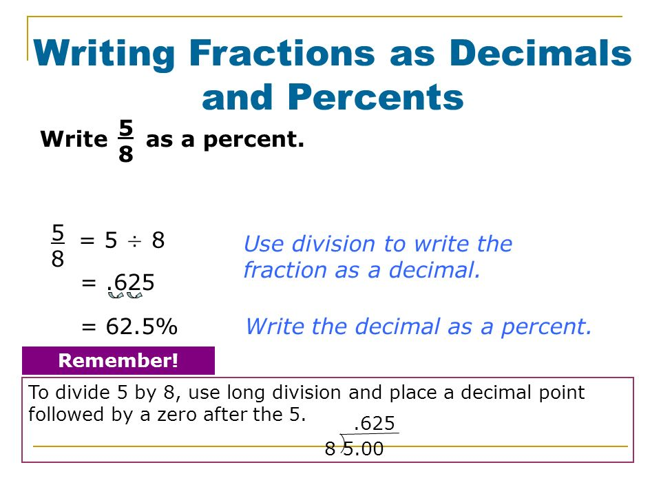 Fractions, Decimals, and Percents Worksheet