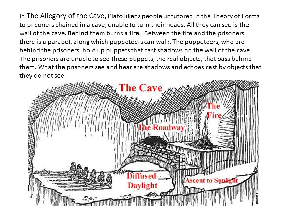"a literary analysis of allegory of the cave by plato In plato's ""allegory of the cave,"" true belief is like a moving statue that  he strove  for a higher interpretation of existence that would create an."