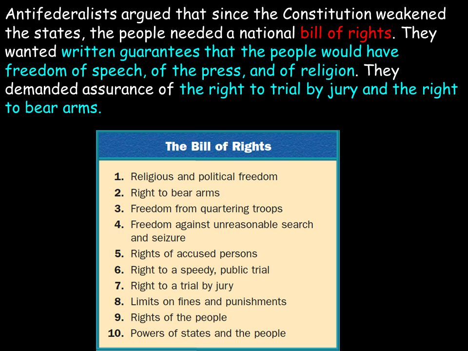 Antifederalists argued that since the Constitution weakened the states, the people needed a national bill of rights.