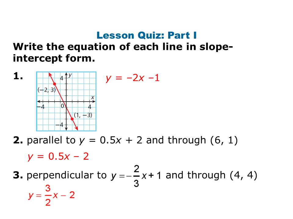 Write An Equation In Slope Intercept Form Perpendicular Calculator