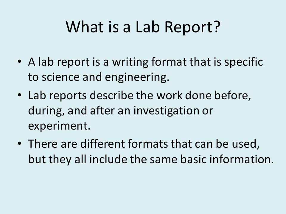 engineering lab report Lab report format the purpose of the bu lab program is to both provide a personal experience of the physical principles and also give students practice communicating their findings in a clear, concise manner with easily identifiable objectives, metrics, and results.