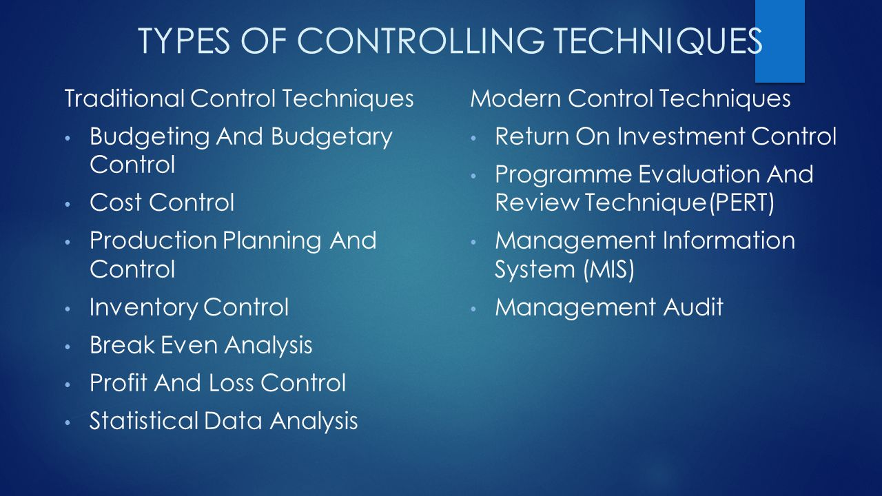 modern techniques of management control 1 what are management techniques 2 how organizational control is important to organizational performance  top managers use a number of methods to control their organizations these executives.