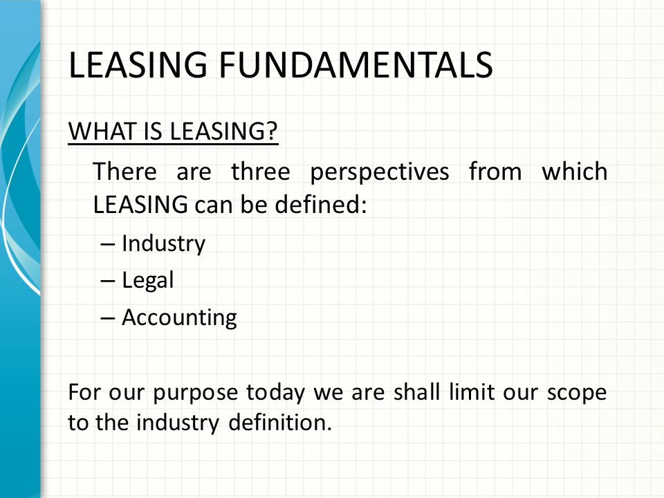 what is the purpose of the lease