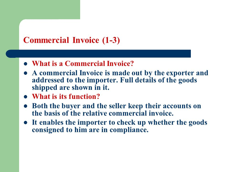 Commercial Invoice Definition International Commercial Invoice