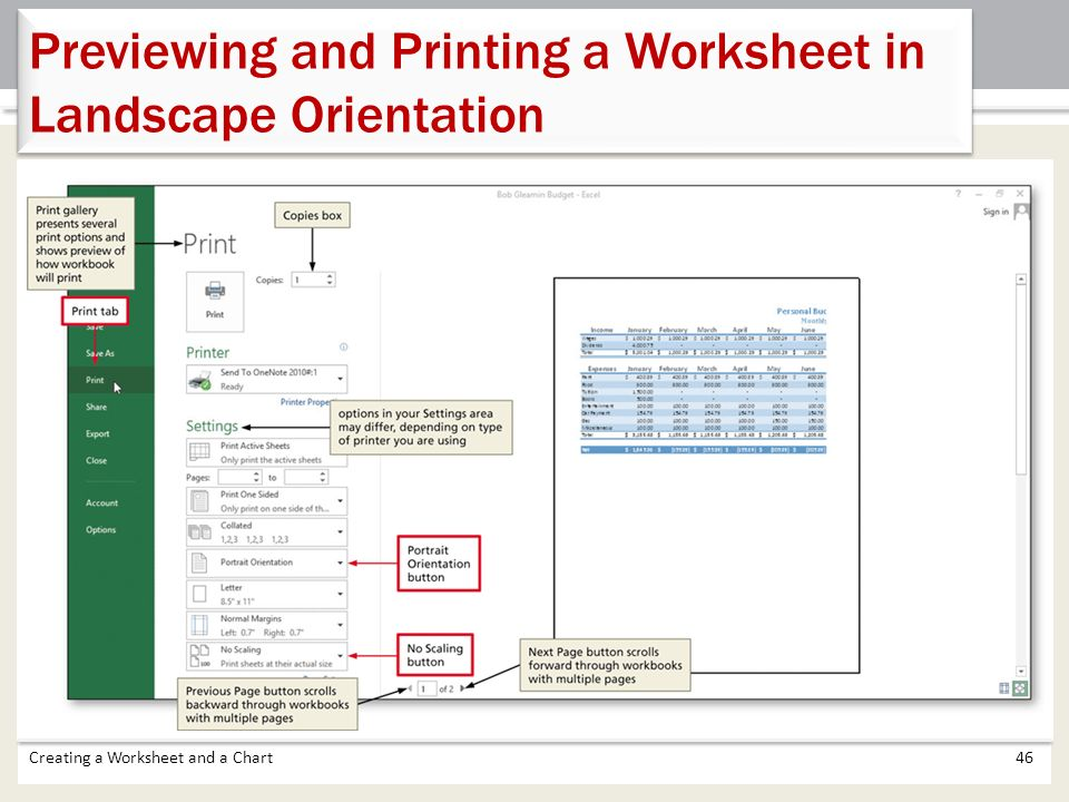 how to change orientation of worksheet to landscape in excel