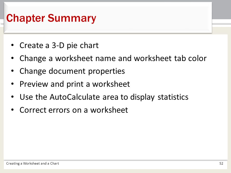 Chapter 1 Creating a Worksheet and a Chart ppt download – Chapter Summary Worksheet