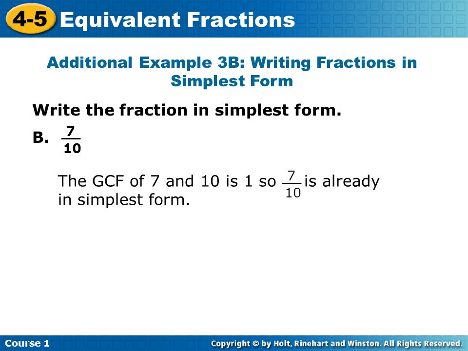 How to Write a Fraction in the Simplest Form