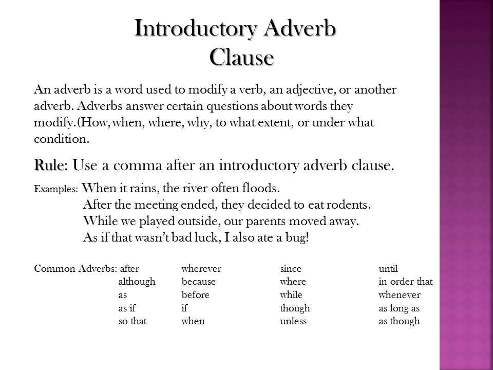Adverb Clause Olivero