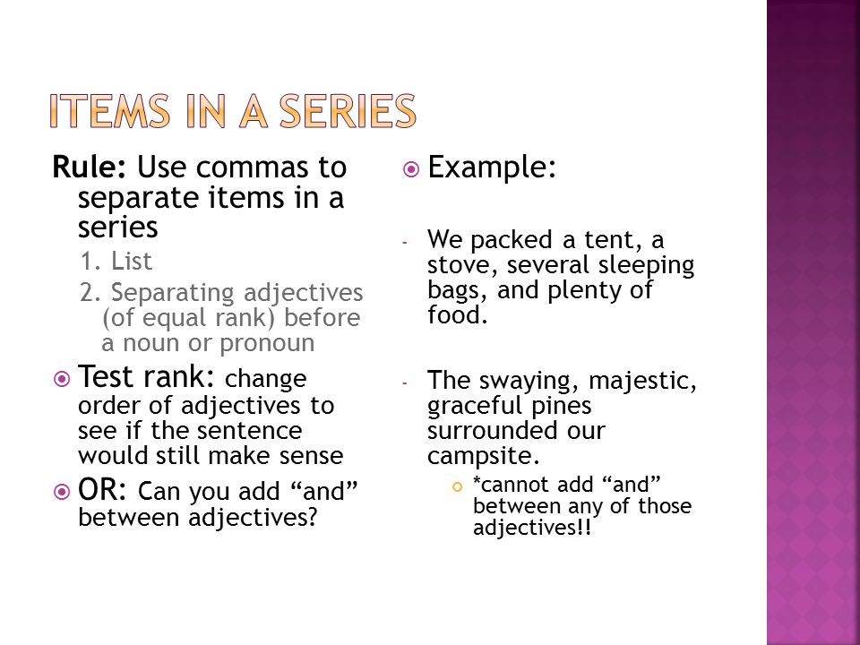 how to write an address with commas between adjectives