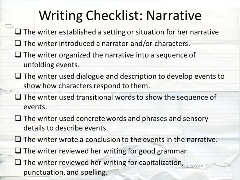 writer s checklist for writing a narrative A checklist for children to use during the final stages of their story writing  story writing checklist 4 3 customer reviews author  covering narrative.