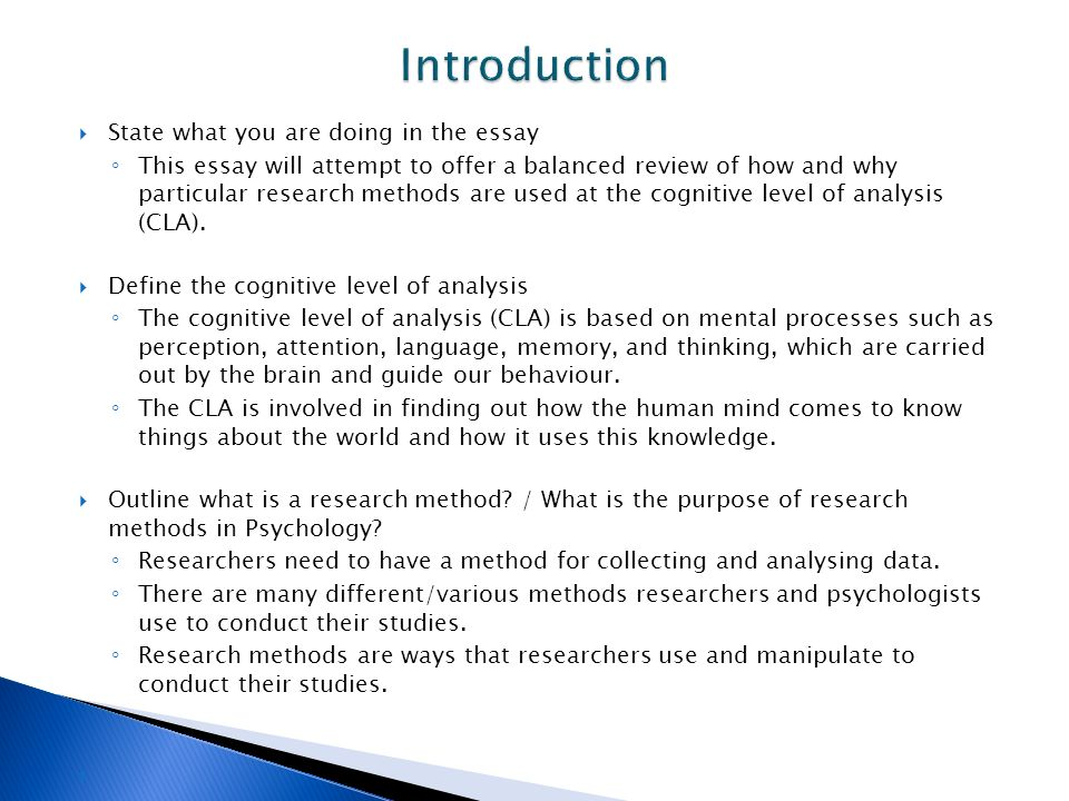 cognitive level of analysis ppt video online  introduction state what you are doing in the essay