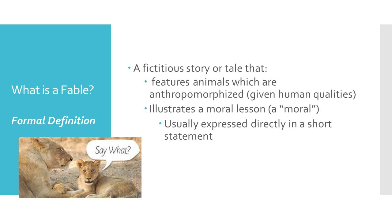 What Is A Fable A Fictitious Story Or Tale That: