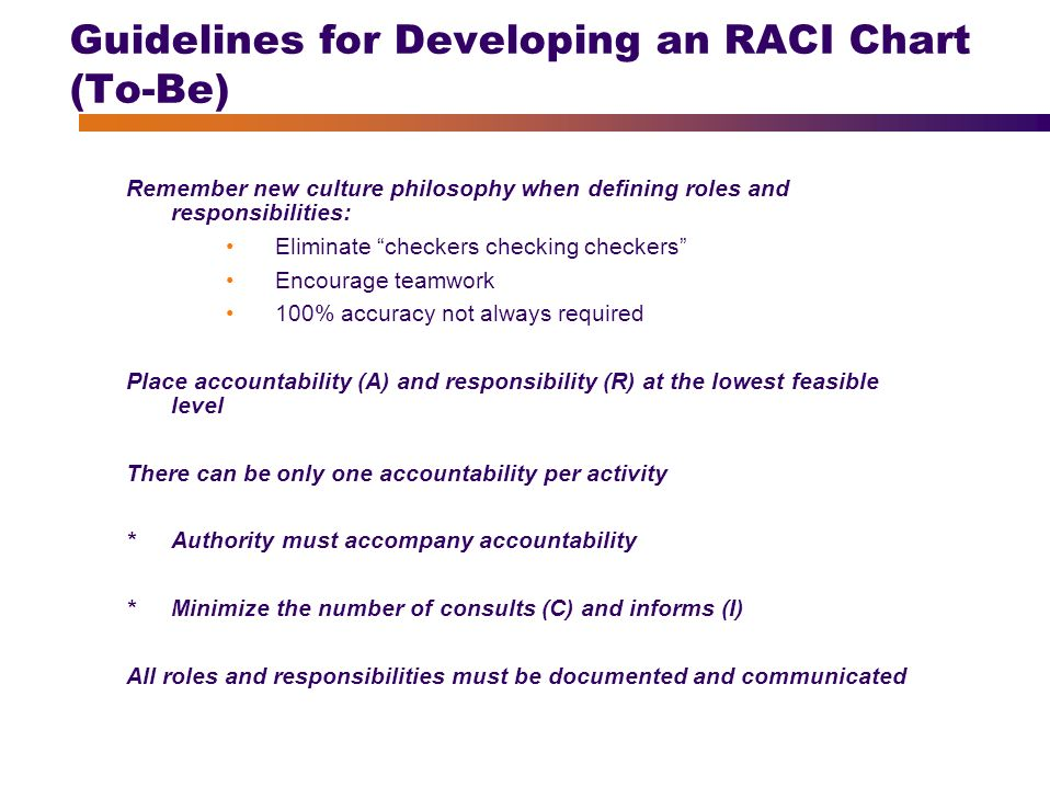 Guidelines For Developing An RACI Chart (To Be)