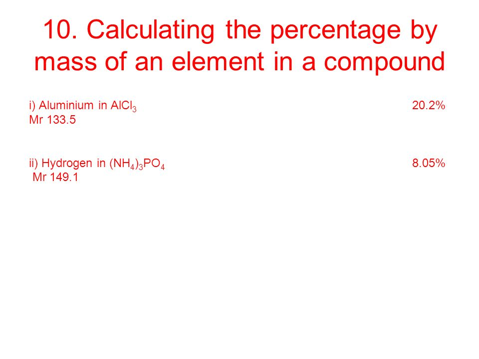 how to find the percentage by mass of an element