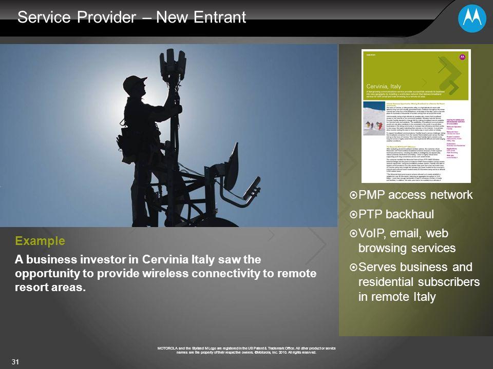 Service Provider – New Entrant