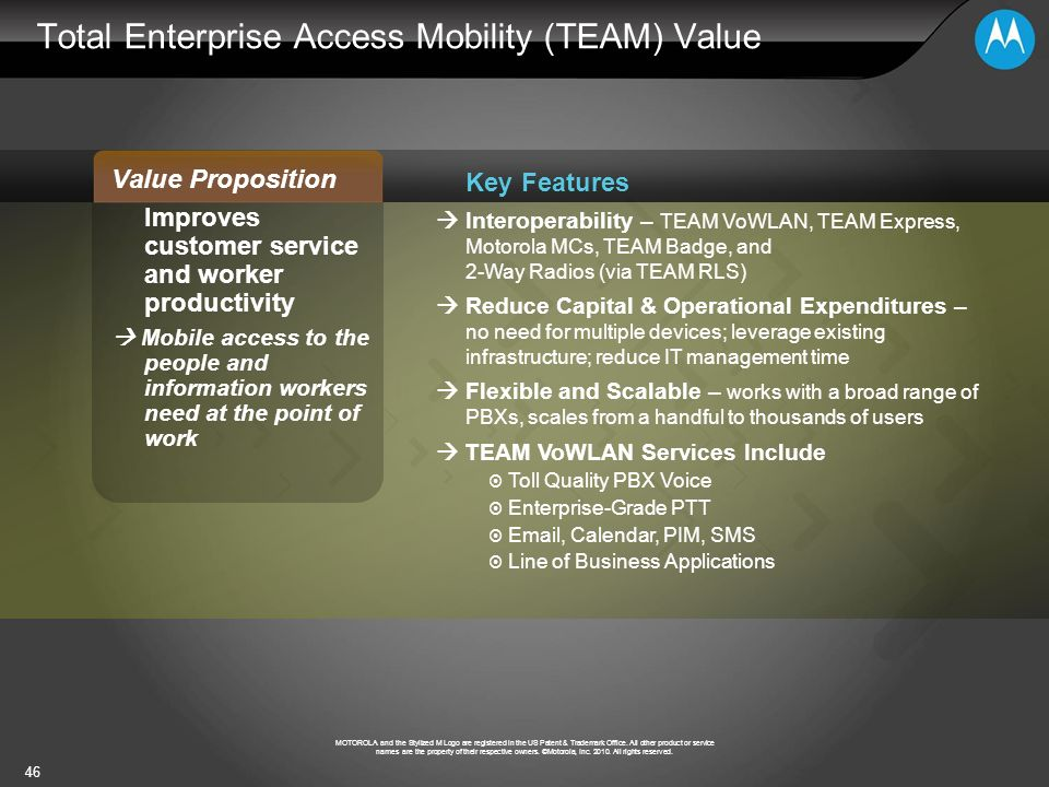 Total Enterprise Access Mobility (TEAM) Value