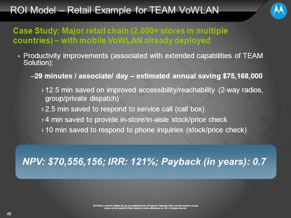 ROI Model – Retail Example for TEAM VoWLAN