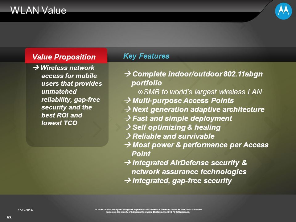 WLAN Value Value Proposition Key Features