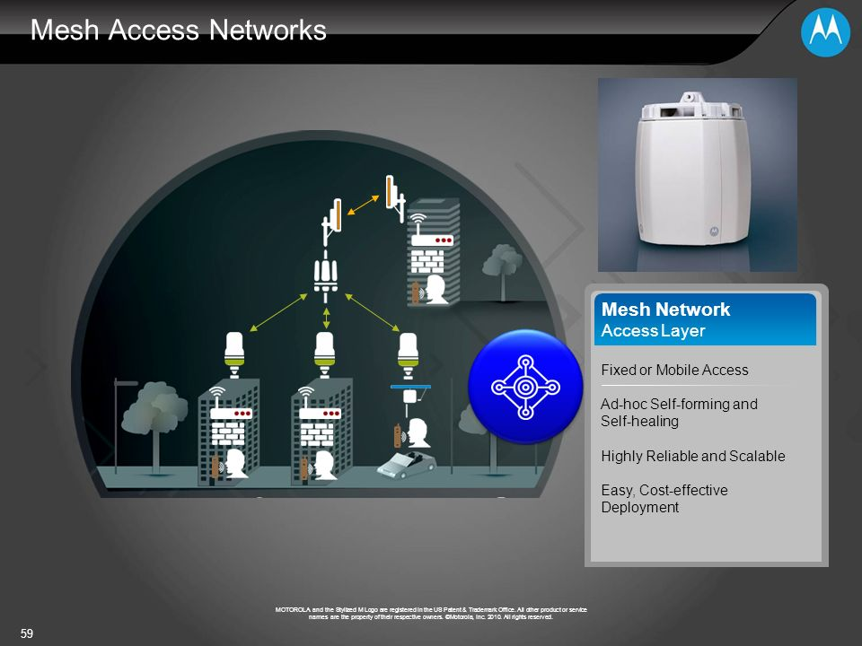 Mesh Access Networks Mesh Network Access Layer Fixed or Mobile Access