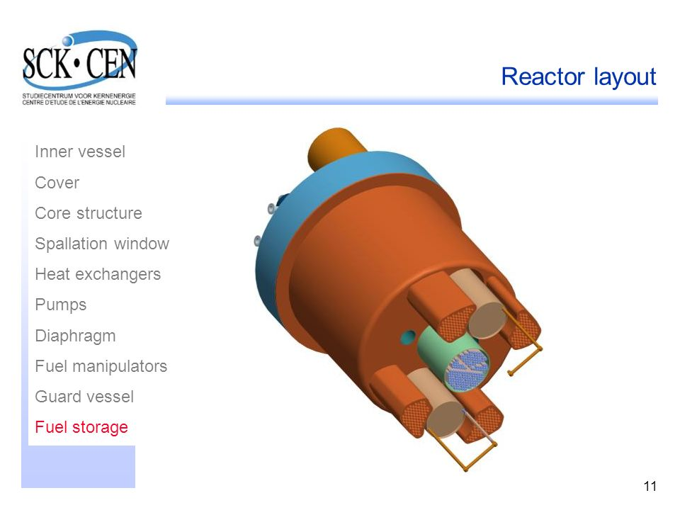 Reactor layout Inner vessel Cover Core structure Spallation window