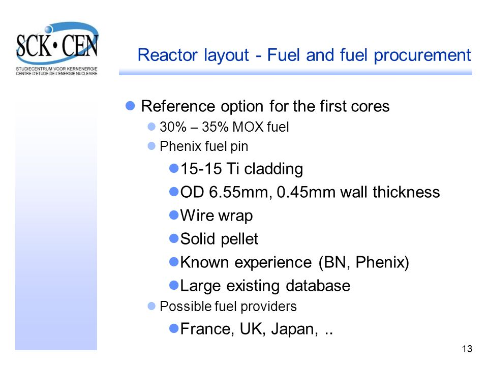 Reactor layout - Fuel and fuel procurement