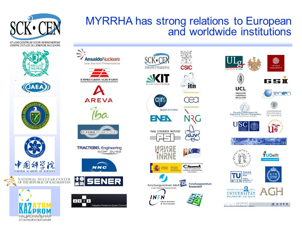 MYRRHA has strong relations to European and worldwide institutions