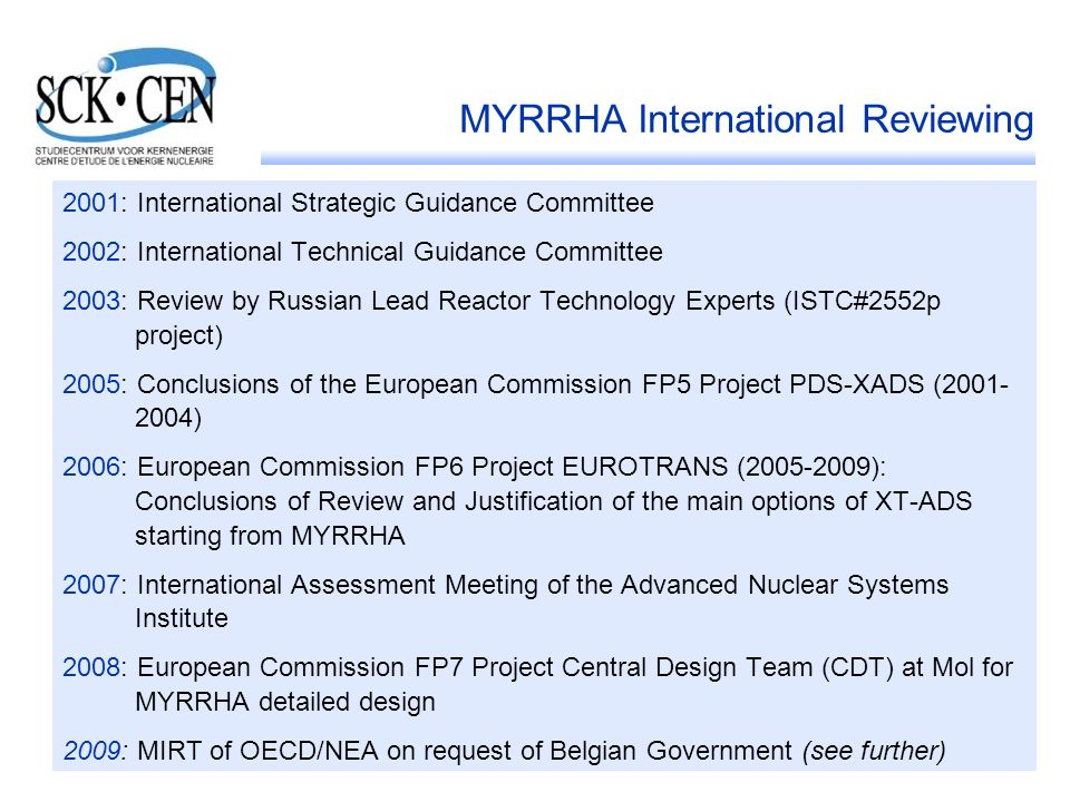 MYRRHA International Reviewing