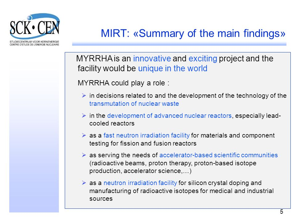 MIRT: «Summary of the main findings»