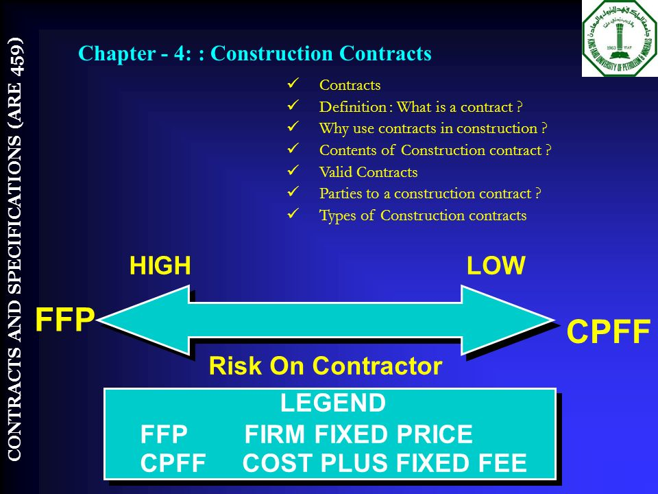 Course introduction are 459 by contracts and for Fixed price construction contract